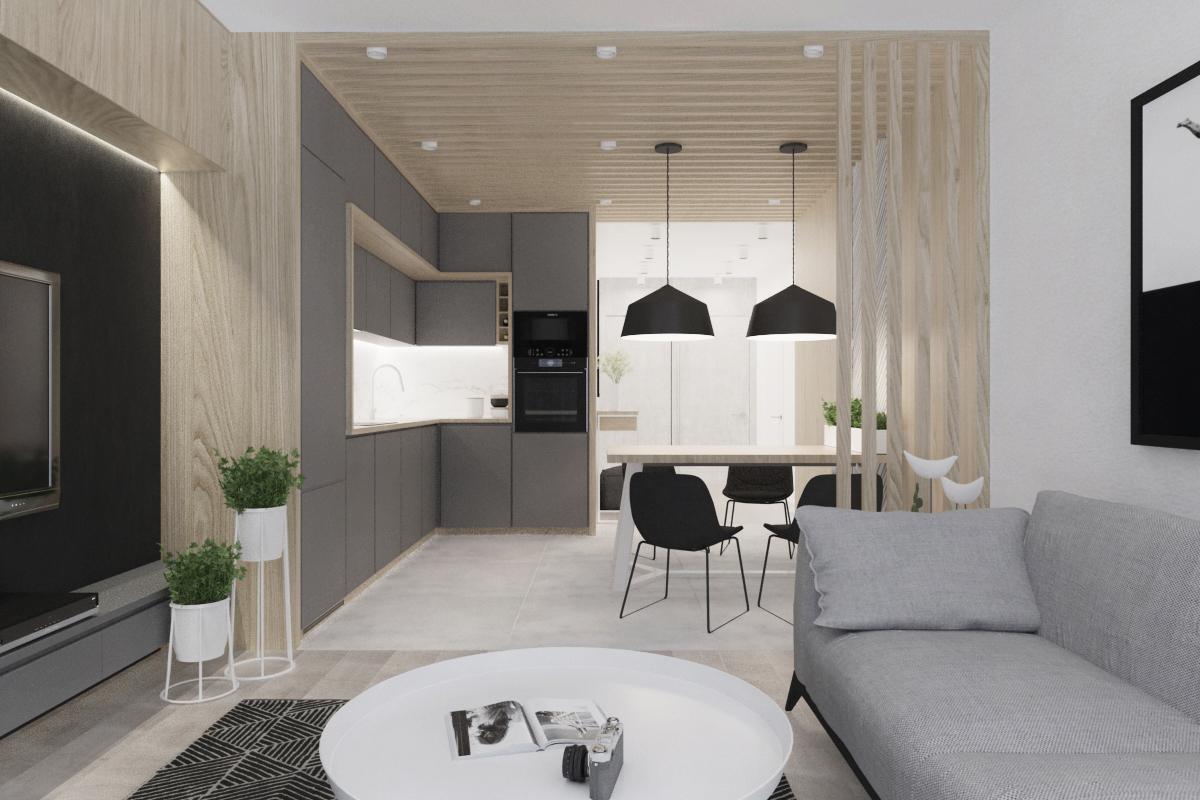 Nowoczesne Beton I Drewno Illa Design Projektowanie Wnętrz